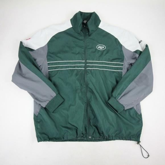 c0d7870b NY Jets NFL Team Rain Jacket XL Reebok Green Gray